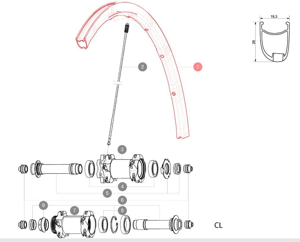 MAVIC KIT FRONT RIM KSYRIUM PRO DISC (V2290510) Množ. Uni